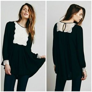 Free People Victorian Lace Long Sleeve Blouse